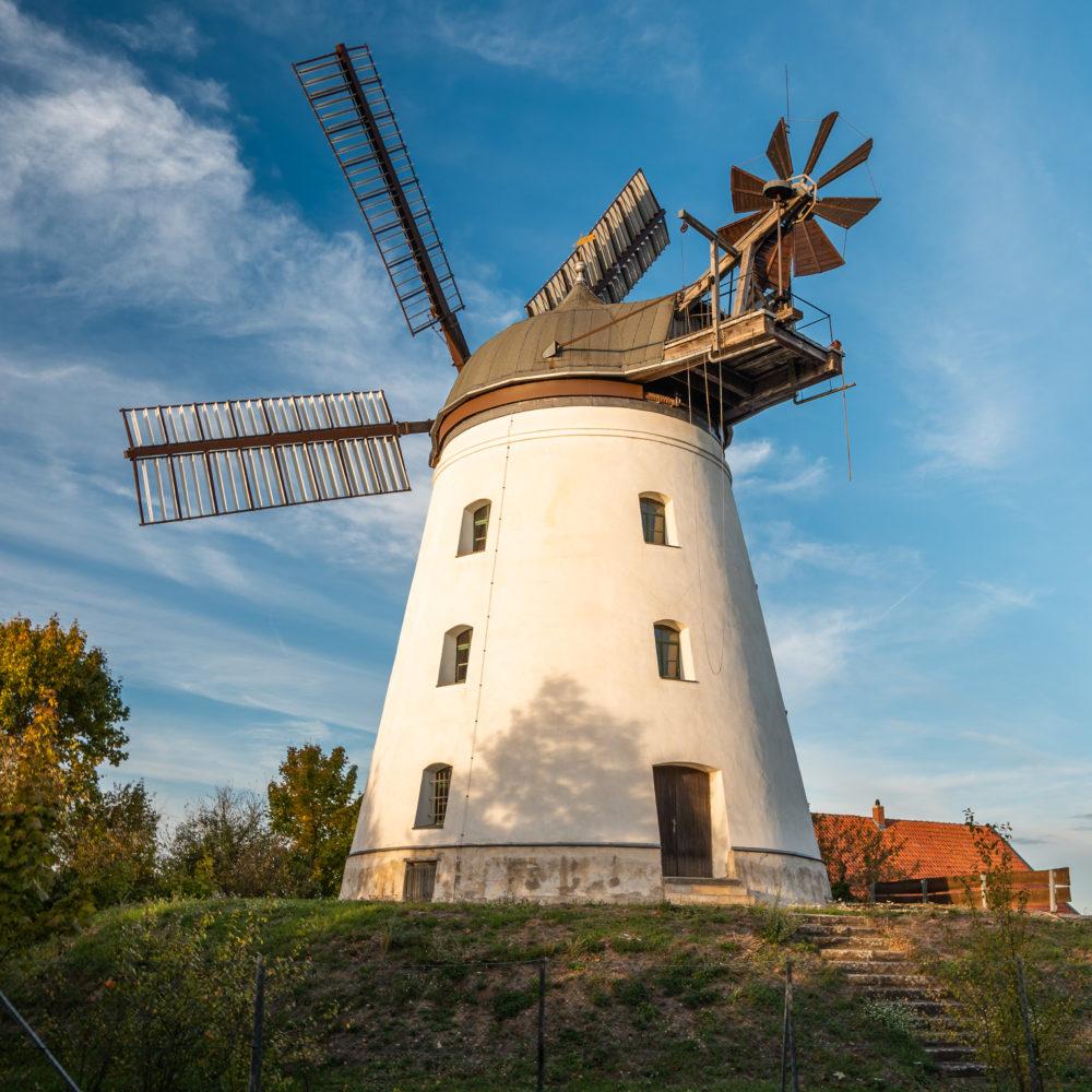 Die Windmühle in Wendhausen ist die einzig betriebsbereite fünfflügelige Mühle in Deutschland.